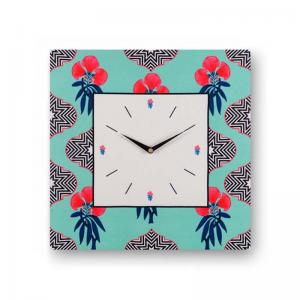 floral-light-blue-framed-analogue-wall-clock - wall-clocks